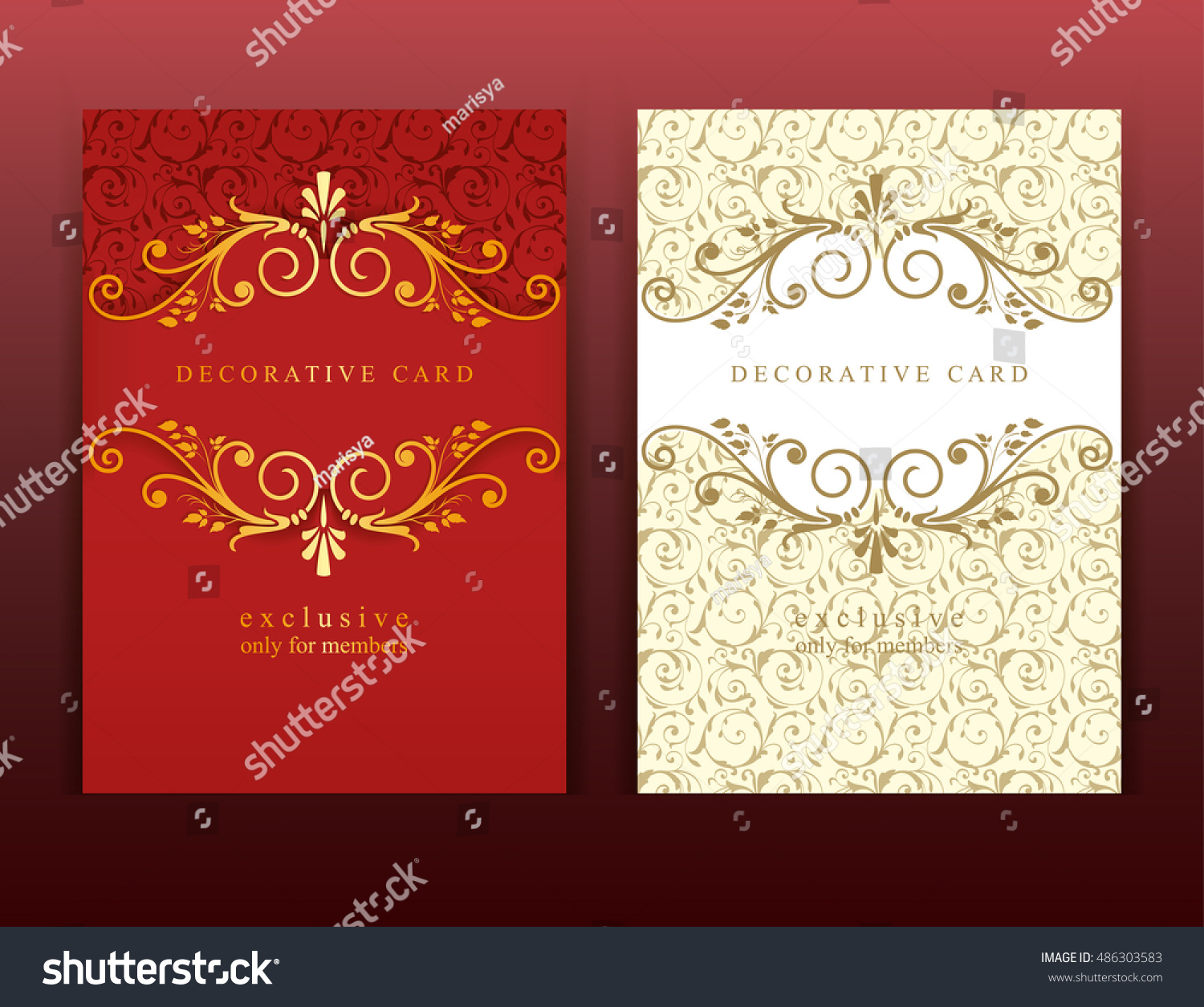 Colored Card Template Ornamental Elements Vintage Stock Vector ...