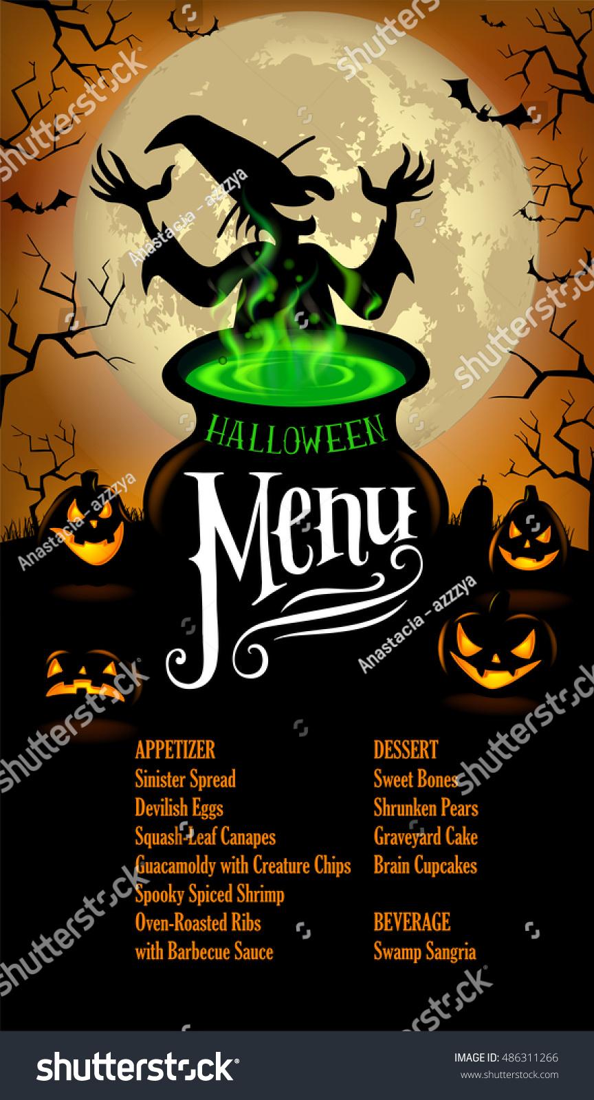 Halloween Menu Template Stock Vector 486311266 - Shutterstock