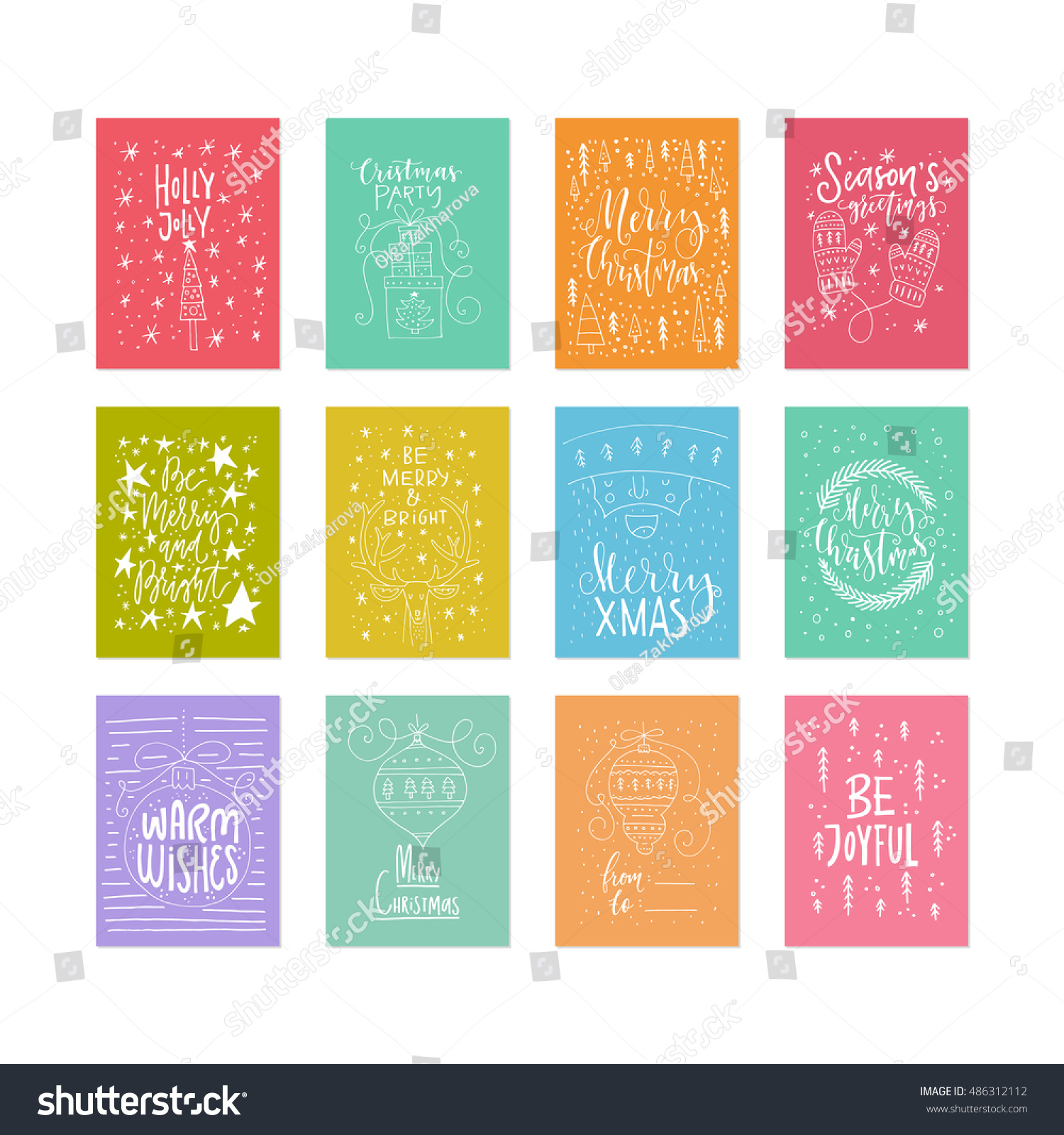 Unique Christmas Cards Vector Set Unique Christmas Cards Handdrawn Stock Vector 486312112
