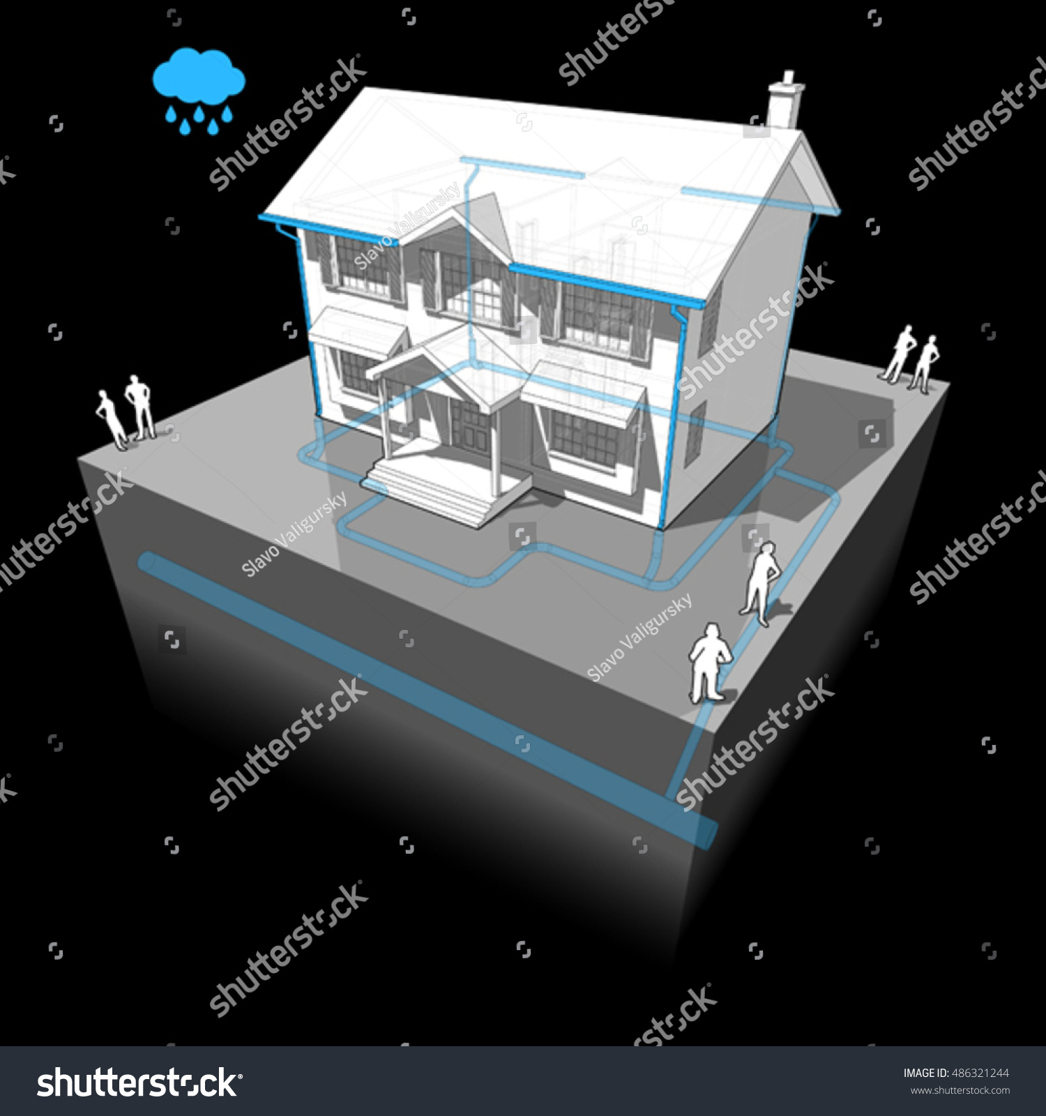 3d Illustration Of Diagram Of A Classic Colonial House