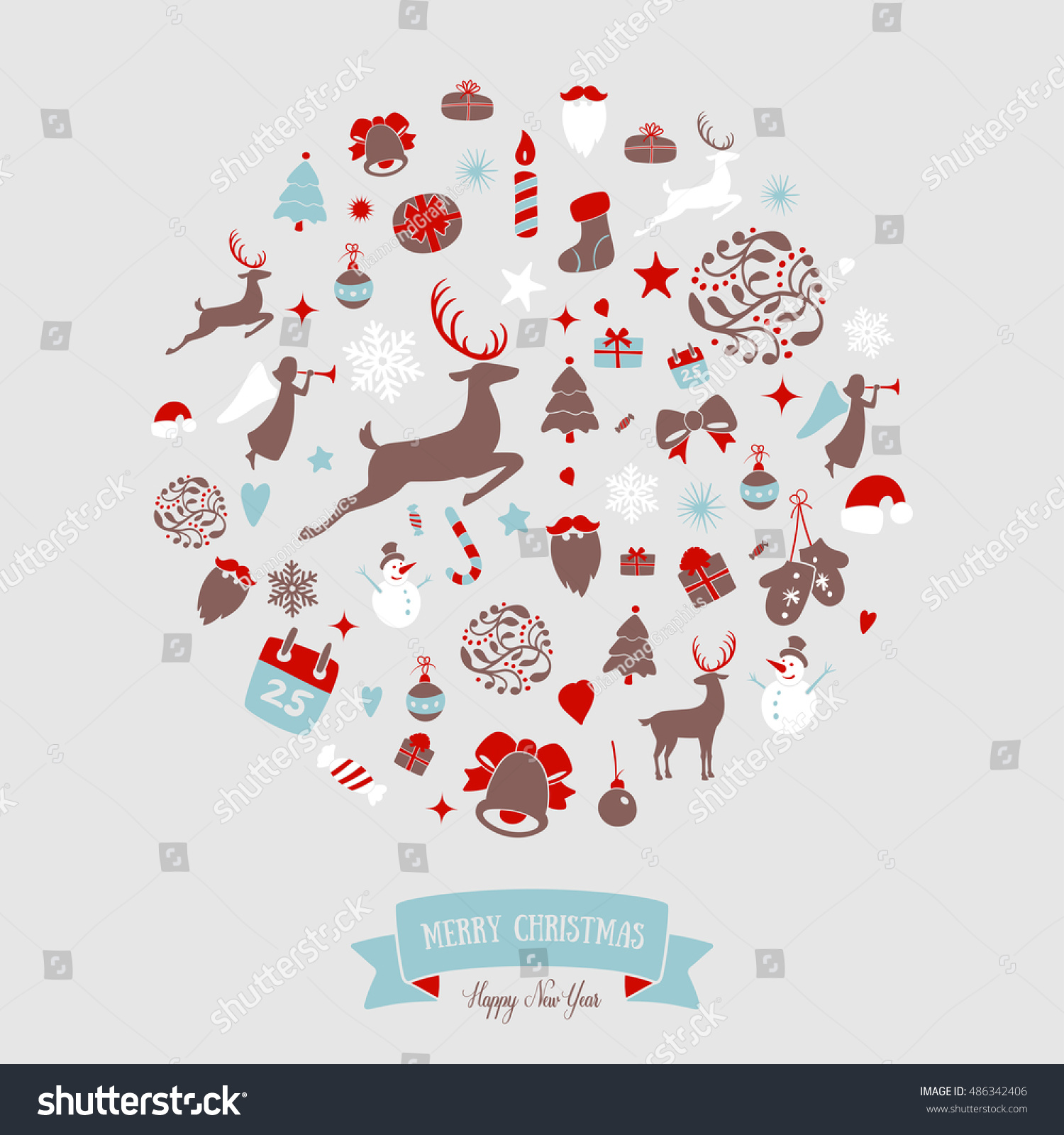Where To Buy Christmas Decorations Year Round: Christmas Round Ornaments Design Merry Christmas Stock