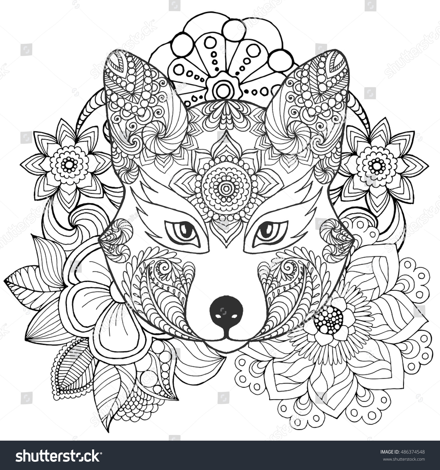 fox flowers coloring page hand drawn stock vector 486374548