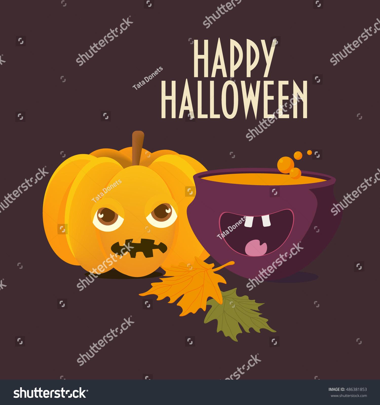 Halloween Card Spooky Pumpkin Happy Witch Stock Vector