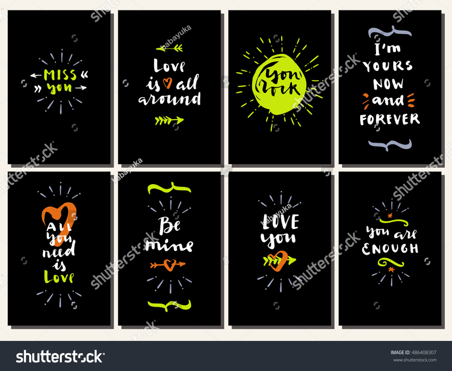 Attractive Vector Hand Drawn Calligraphic Valentineu0027s Day Cards With Hearts And  Arrows. Love Is All Around