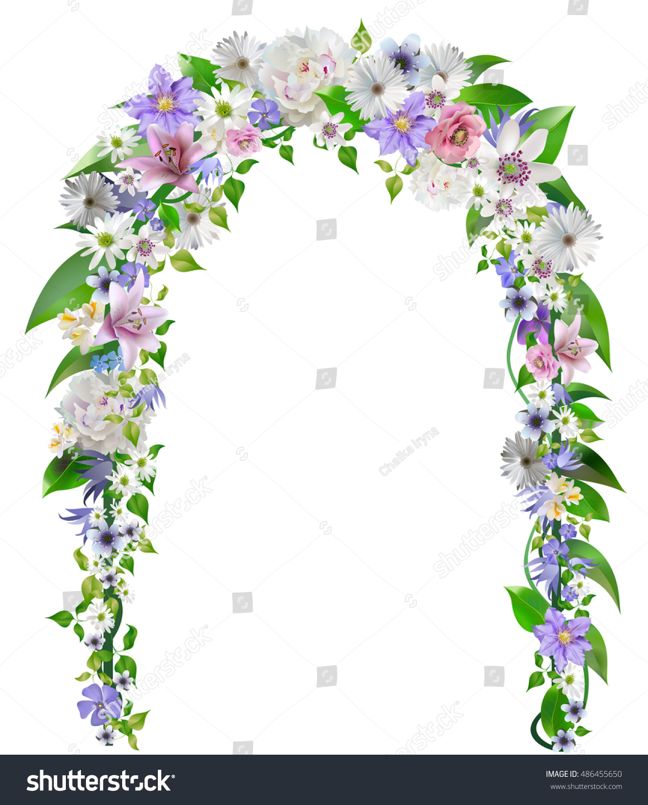 Wedding Decorations Wedding Arch Overgrown Flowers Stock Vector