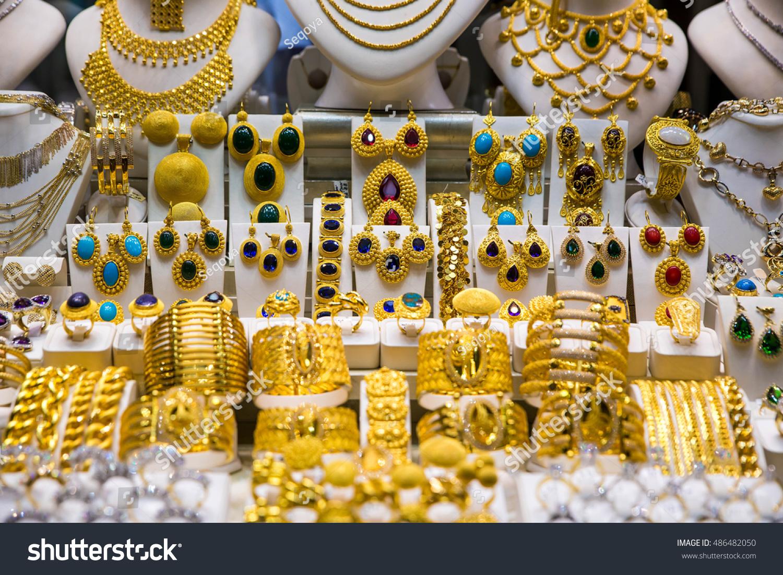Gold Jewelry Grand Bazaar Istanbul Turkey Stock Photo 486482050 ...