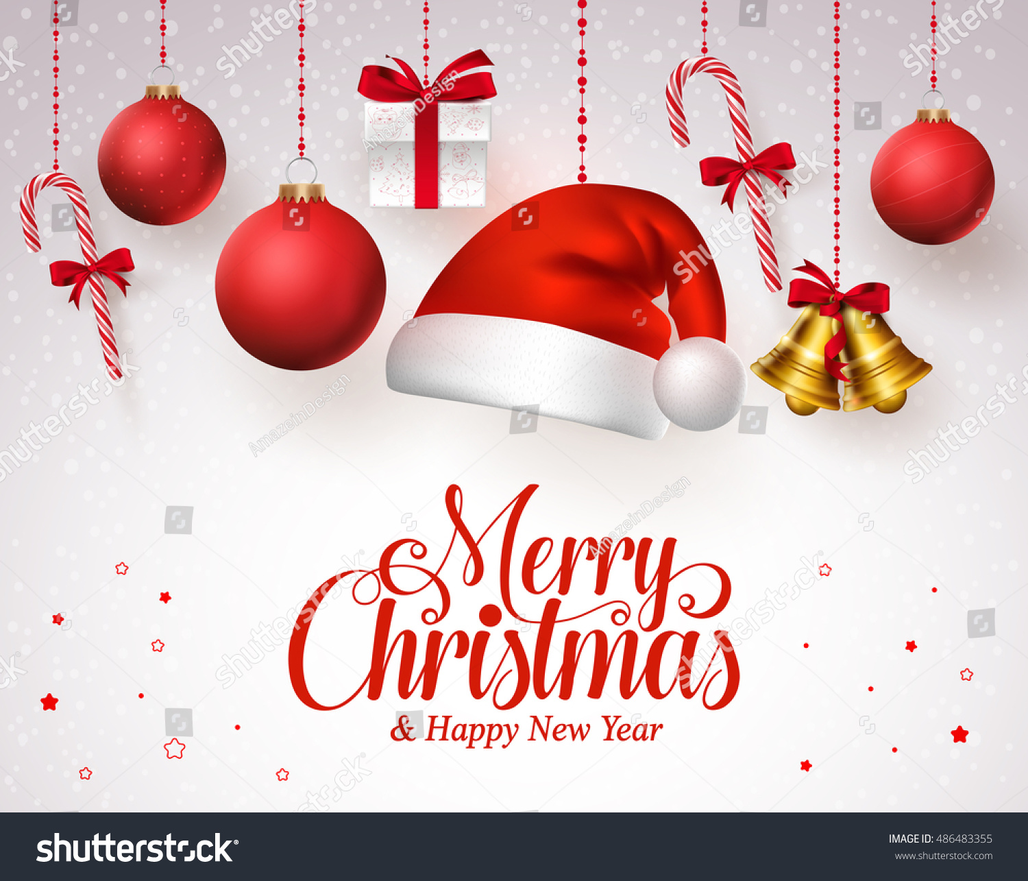 merry christmas title red hanging christmas stock vector 486483355