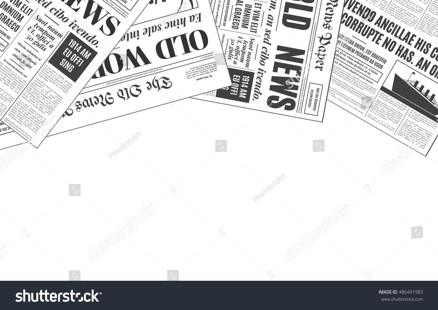 Old White Newspaper Vintage Design Copy Stock Vector Royalty Free