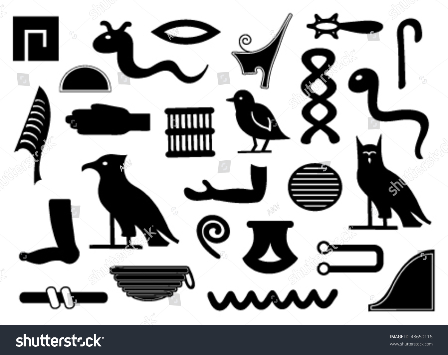 Complete Set Egyptian Hieroglyphs Stock Vector 48650116 ...