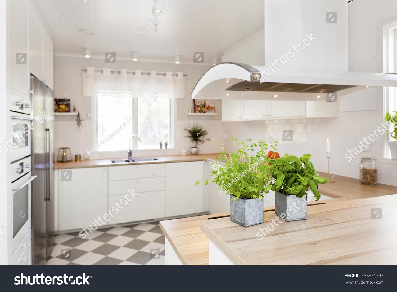 Interior Stylish Kitchen Herbs On Kitchen Stock Photo (Royalty Free ...