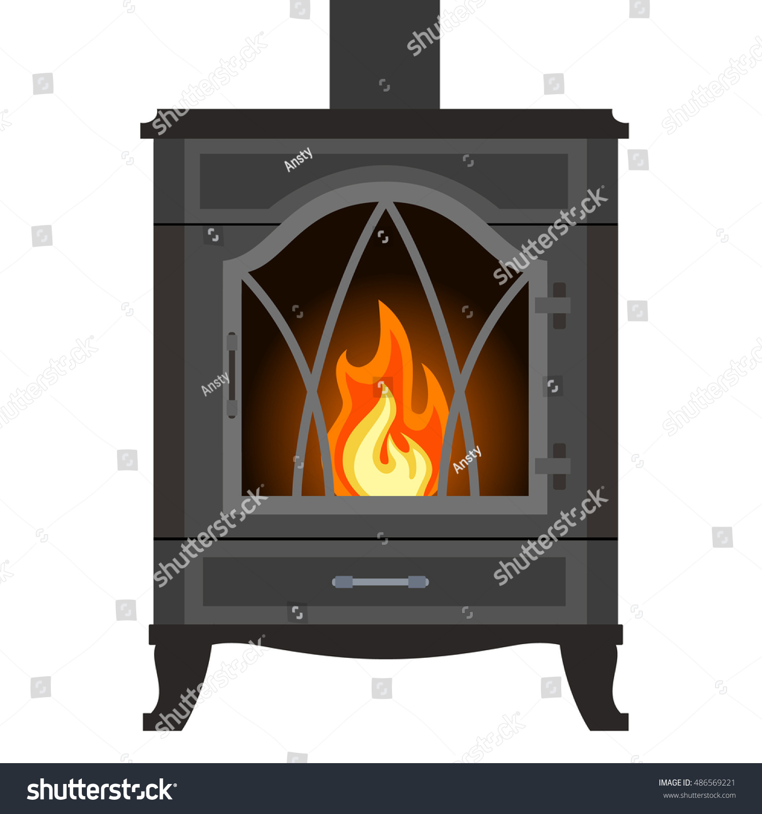 metal fireplace flat style isolated on stock vector 486569221