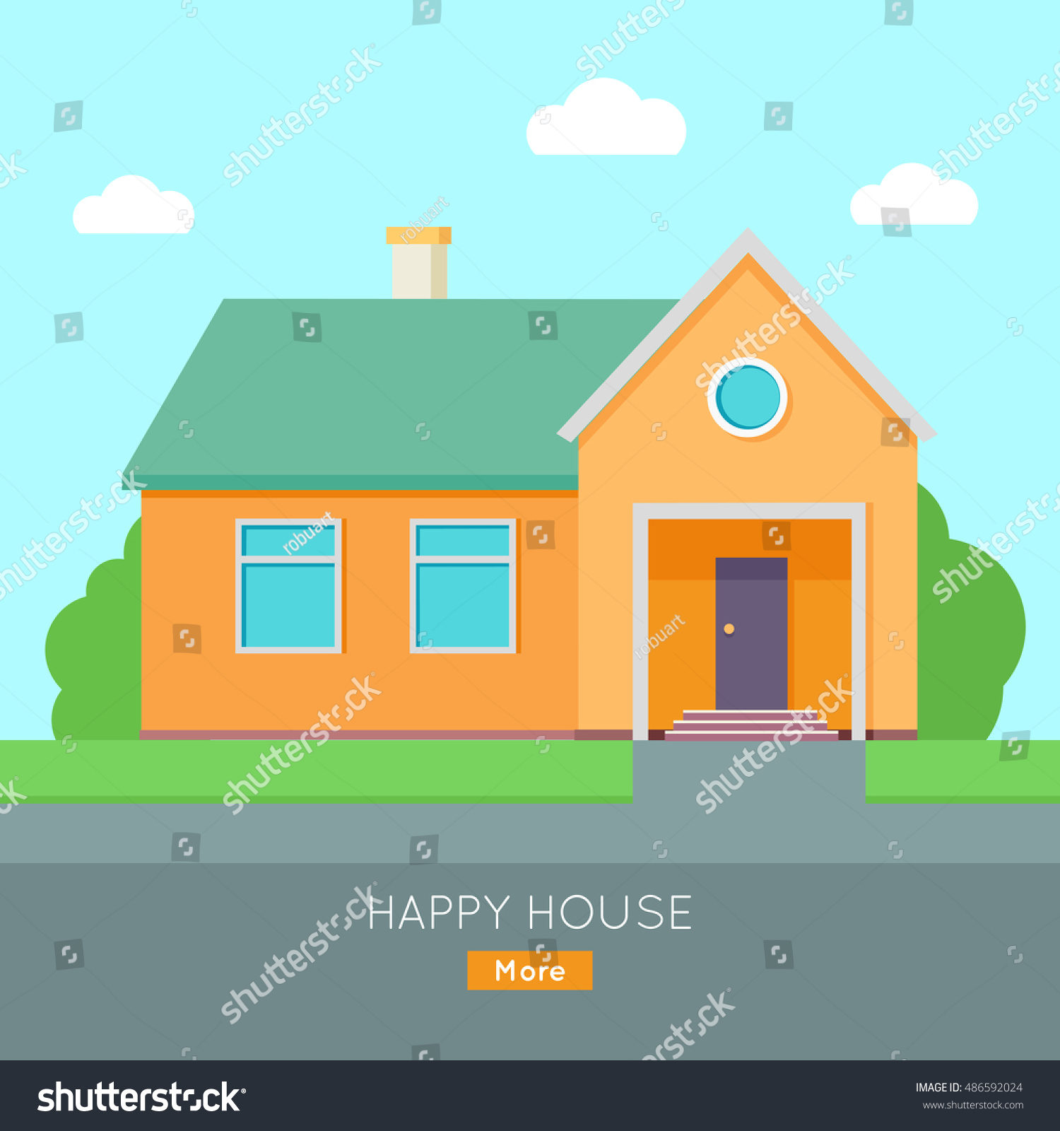 Happy house banner poster template exterior stock vector for Exterior design templates
