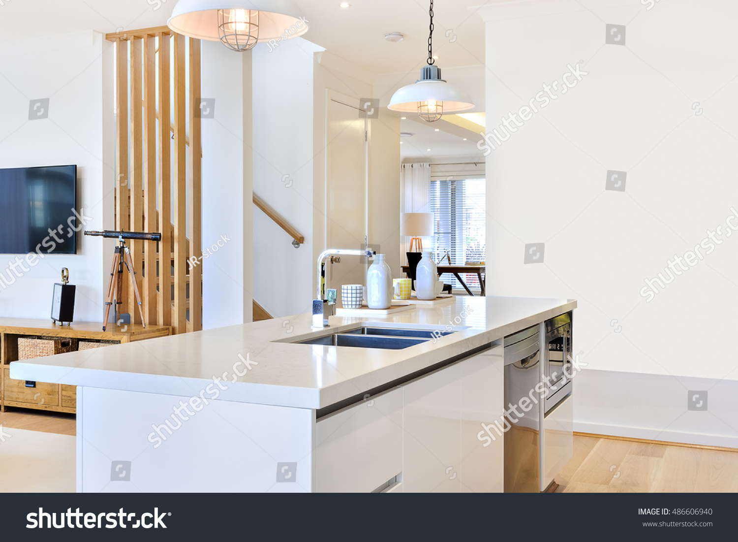 Kitchen Top View : Kitchen counter top view inside house stock photo