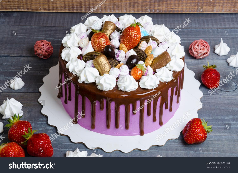 Wedding Anniversary Cake Merengue Chocolate Decoration Stock Photo