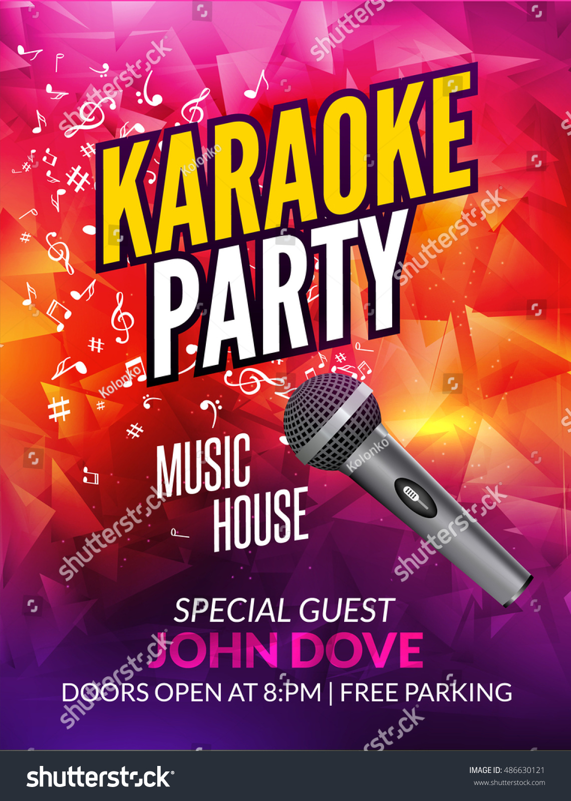 karaoke party invitation poster design template stock
