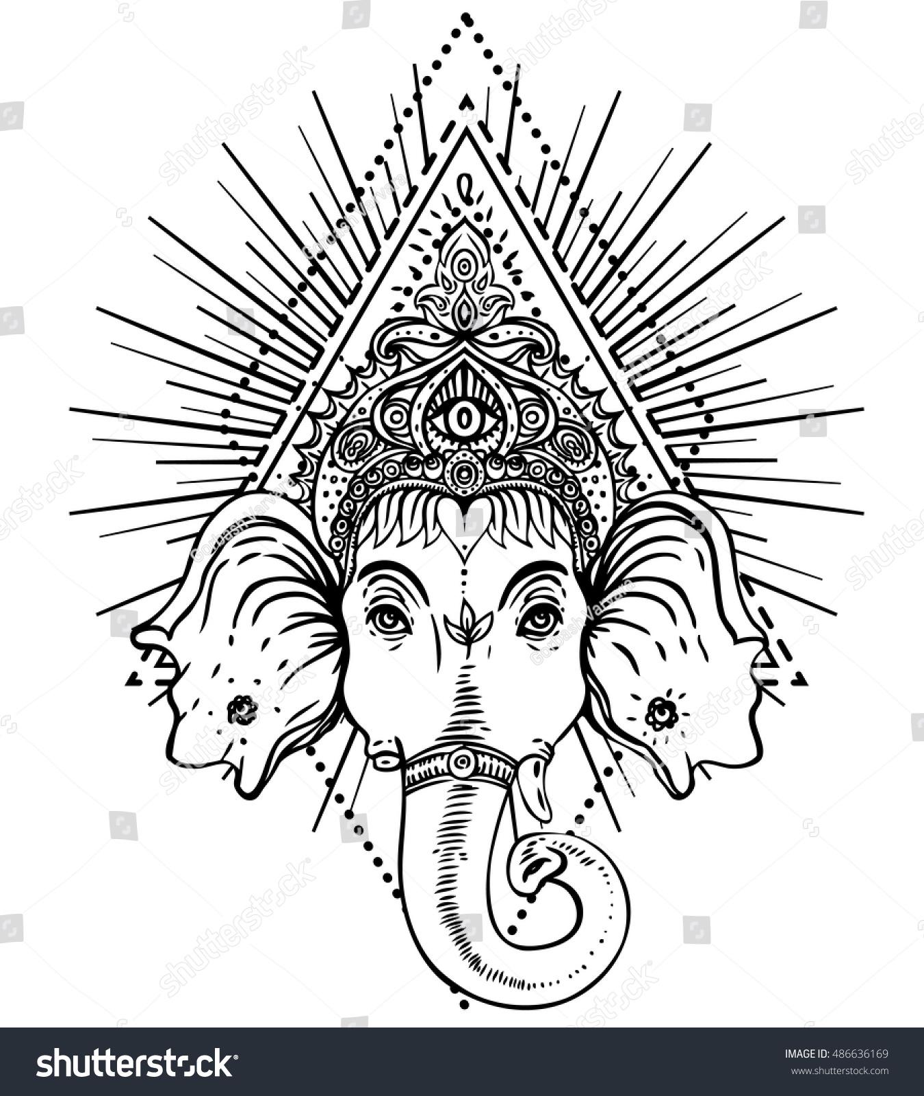 hindu lord ganesha over sacred geometry stock vector 486636169