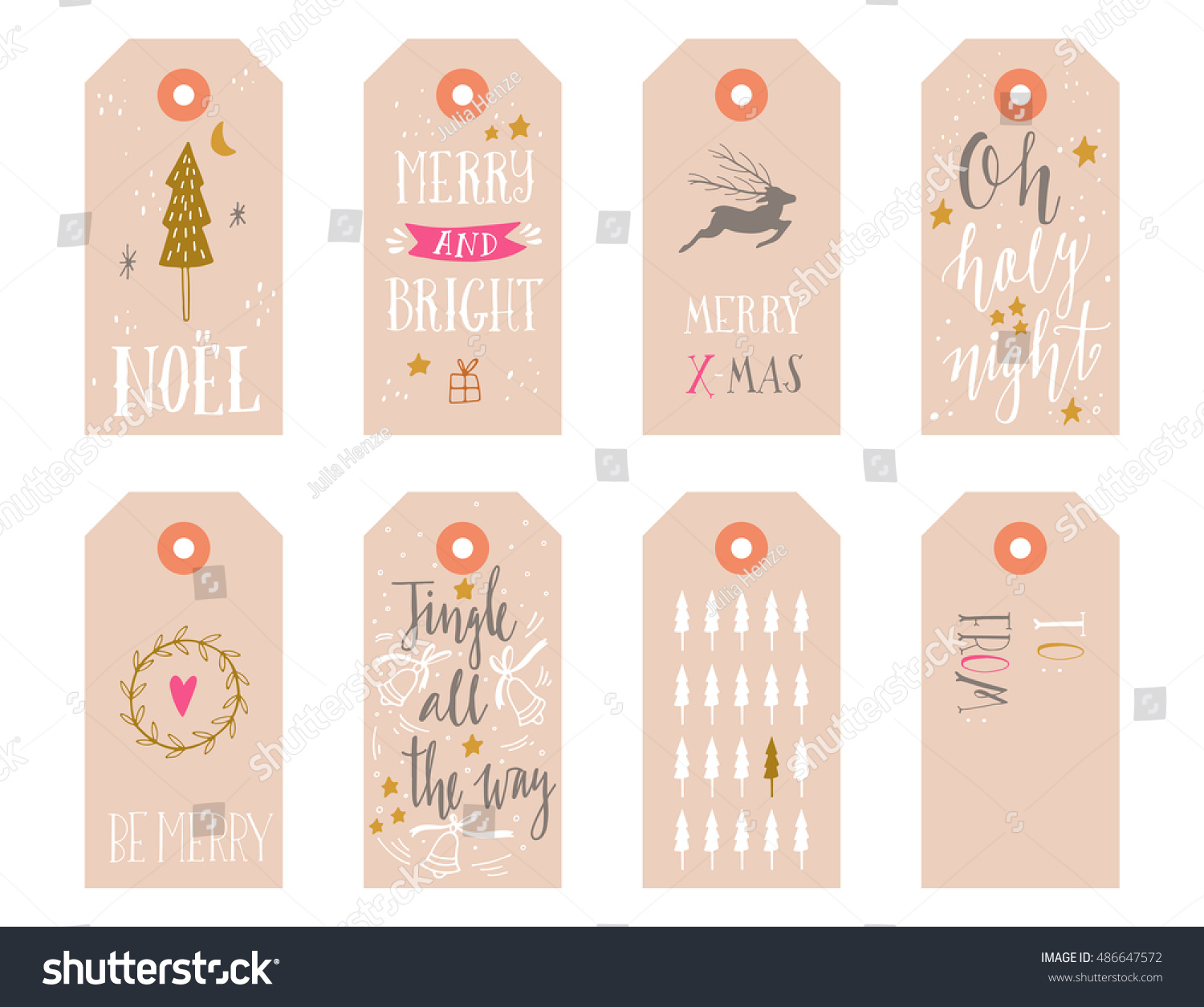 Hand drawn Christmas holiday gift tags collection with calligraphy hand lettering decoration elements and doodles Set of 8 printable labels on white background