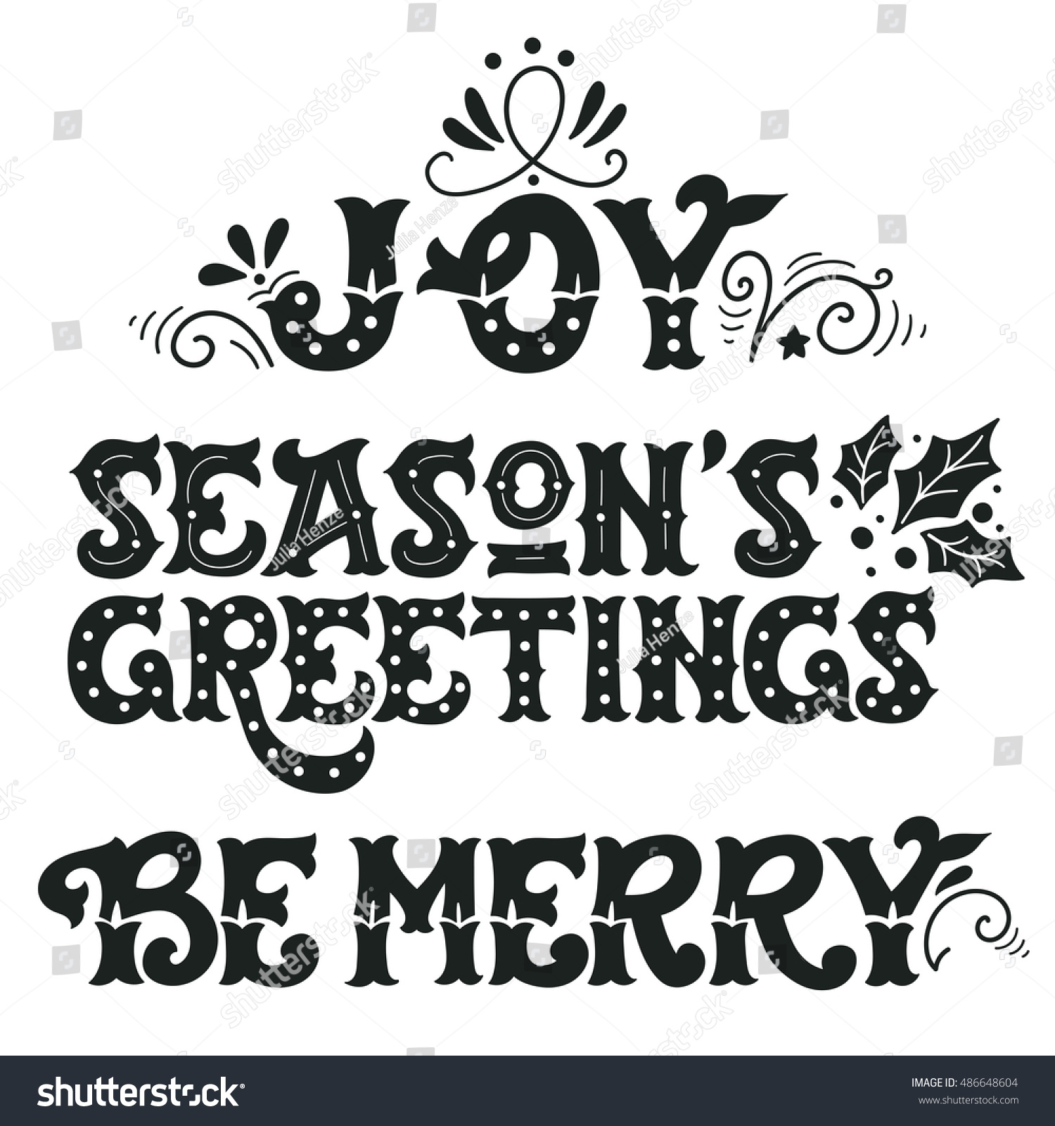 Joy Seasons Greetings Be Merry Collection Stock Vector Royalty Free