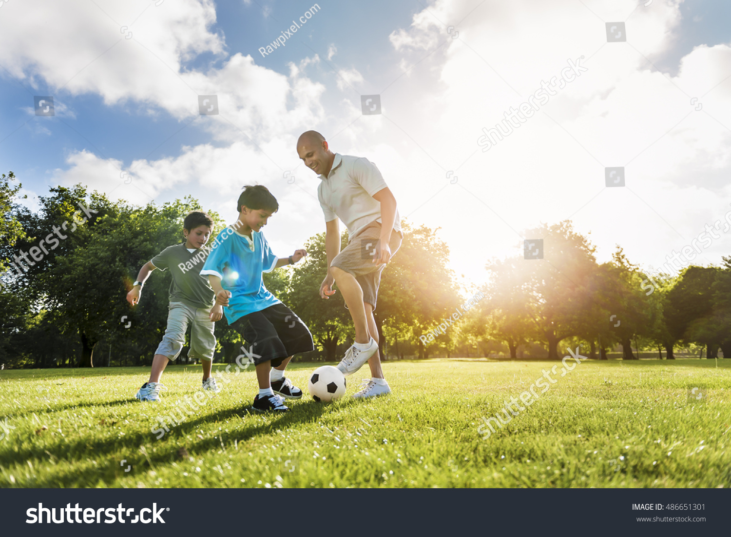 soccer football field father son activity stock photo 486651301