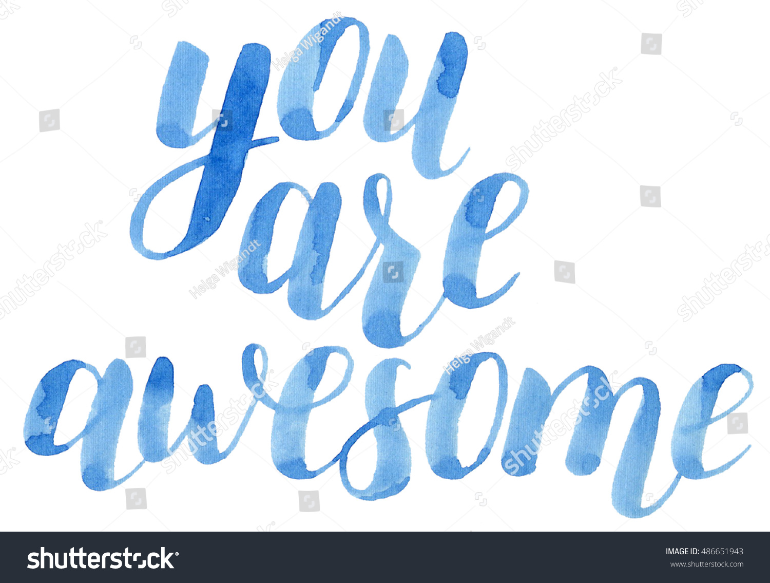 you awesome hand lettering brush pen stock illustration 486651943