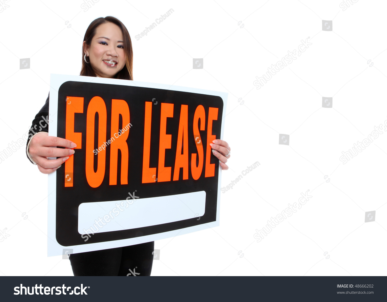 Asian Woman Holding Sale Sign 121