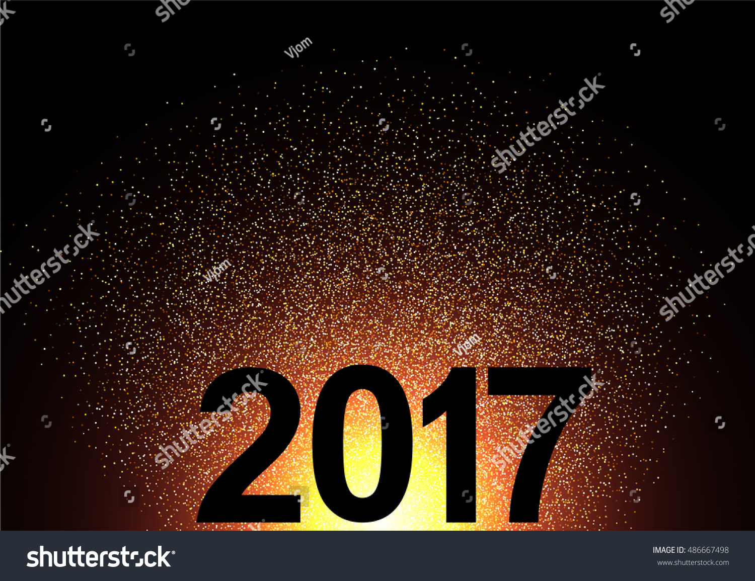 2017 New Year shining background. Vector illustration. #486667498