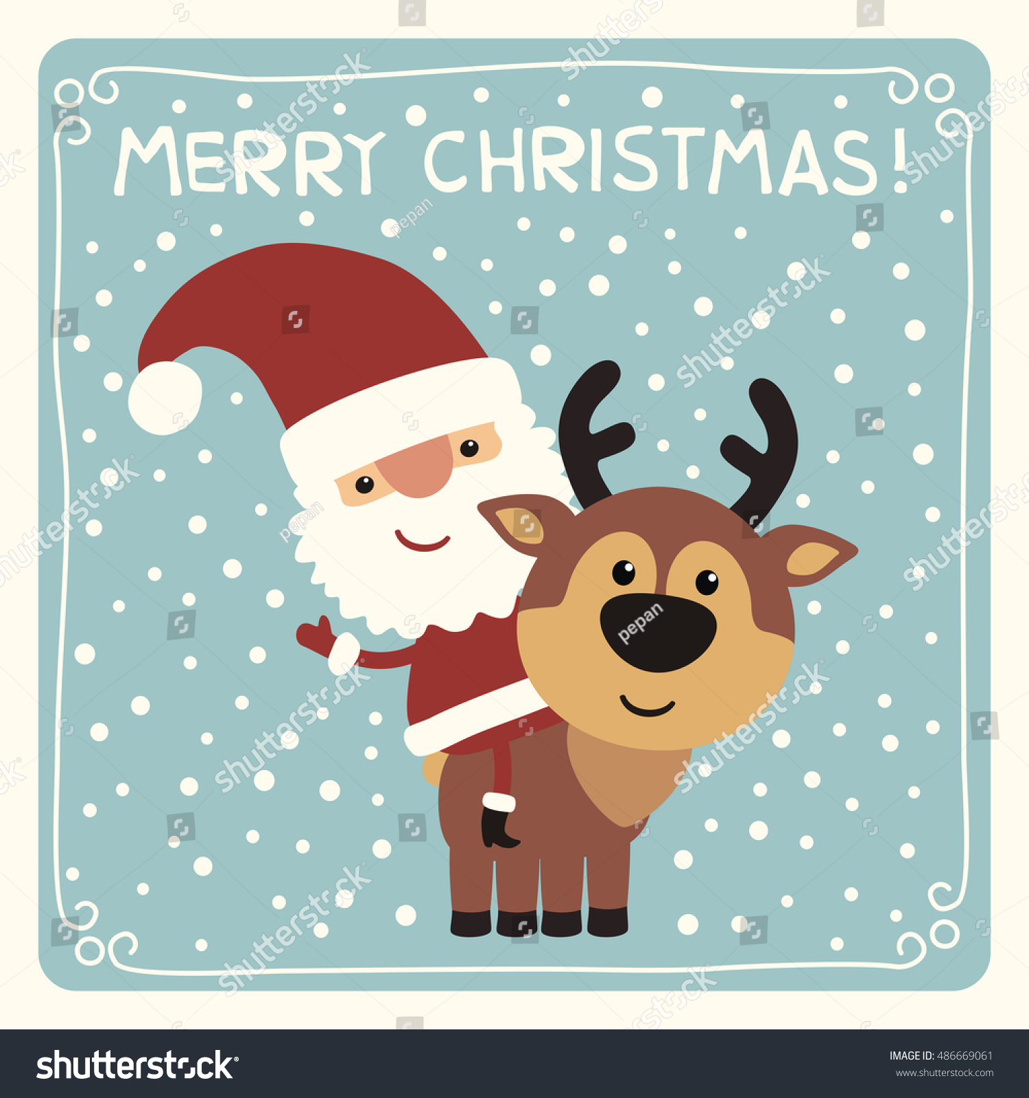 merry christmas funny santa claus riding on reindeer card in cartoon style - Merry Christmas Funny