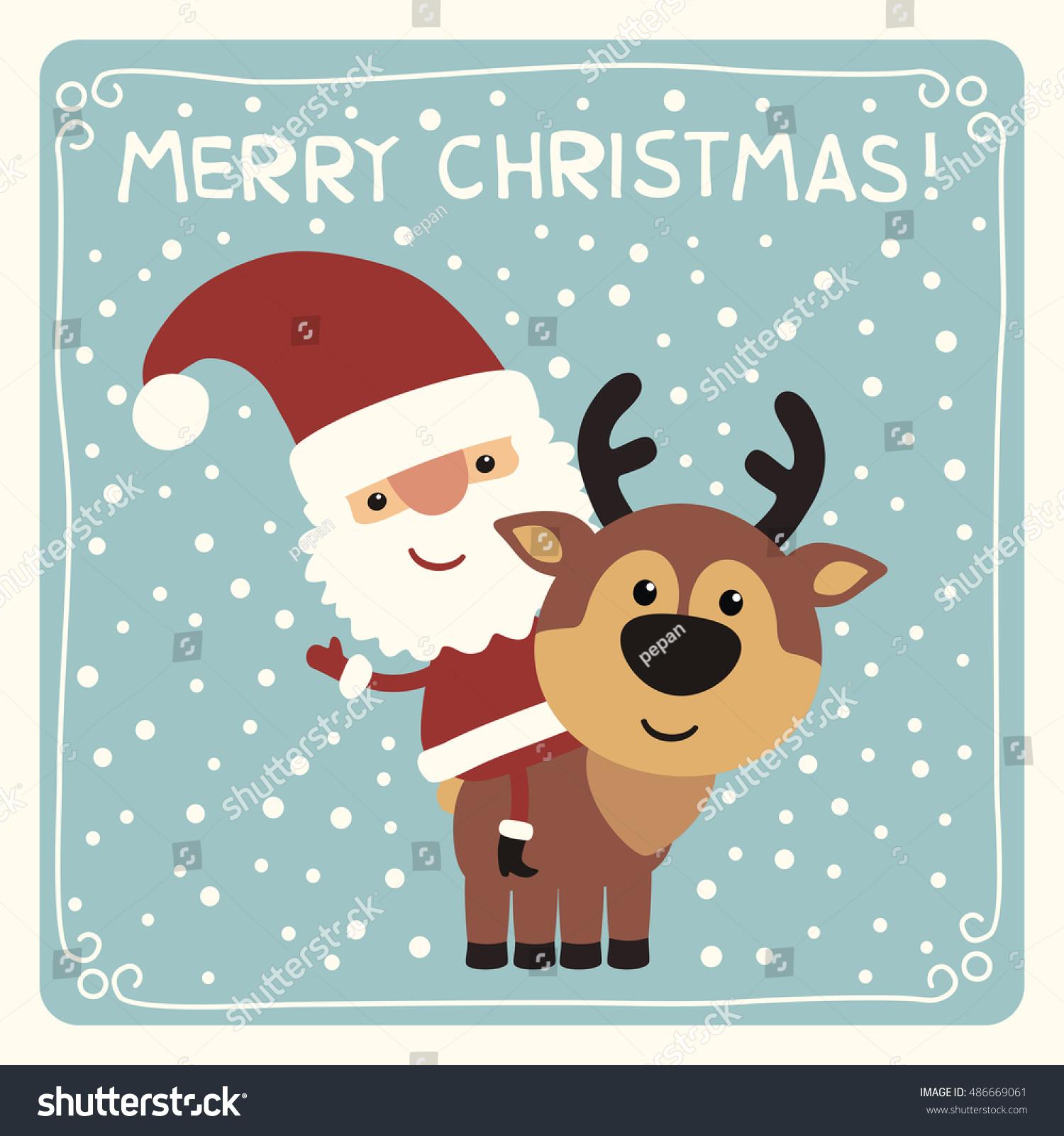 Merry Christmas Funny Santa Claus Riding Stock Vector (Royalty Free ...