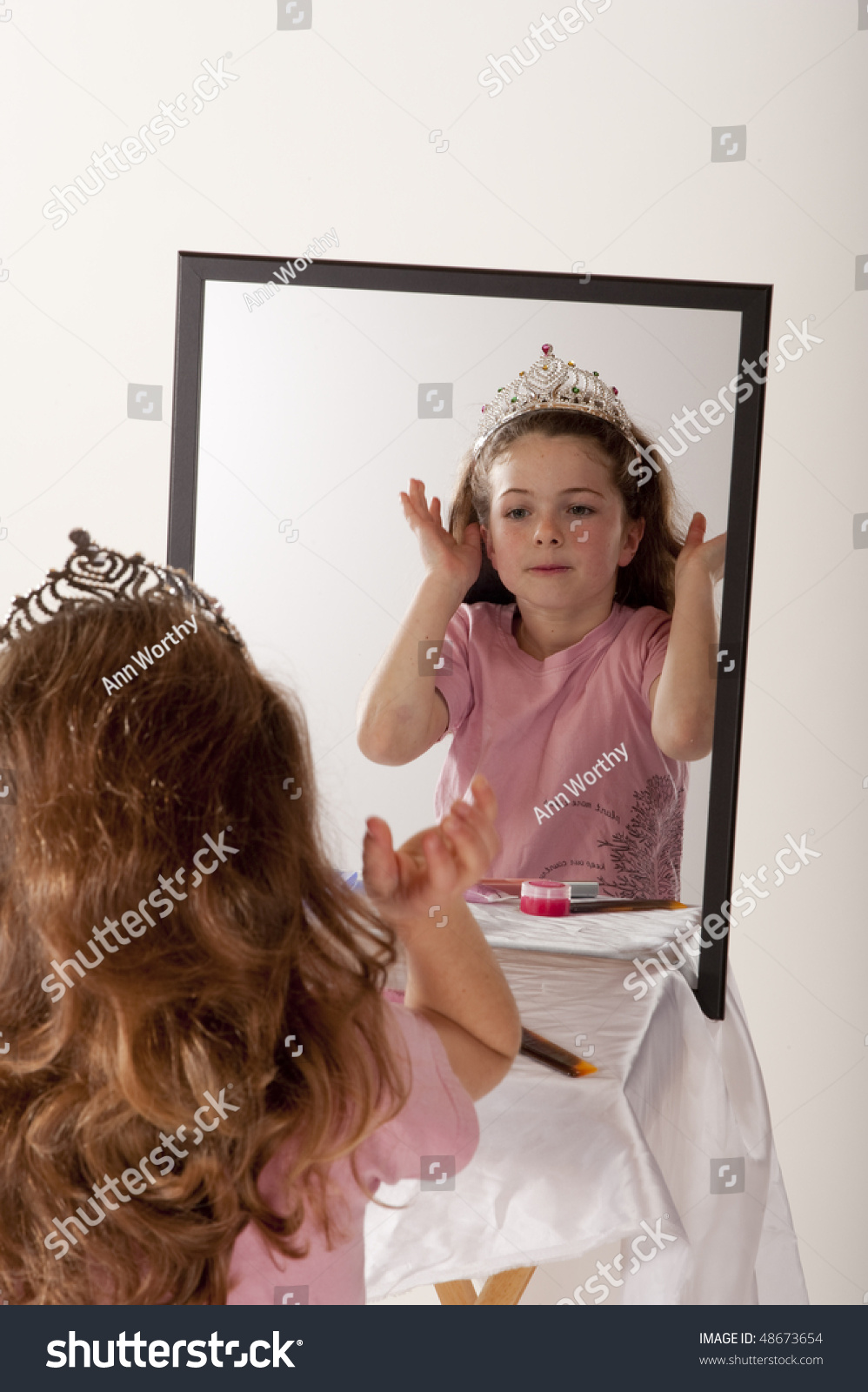 Little Girl Looking Herself Mirror While Stock Photo -5082