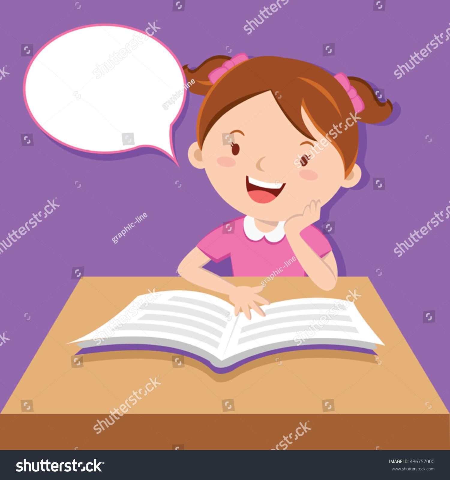 Cute Girl Reading Book Stock Vector 486757000 - Shutterstock