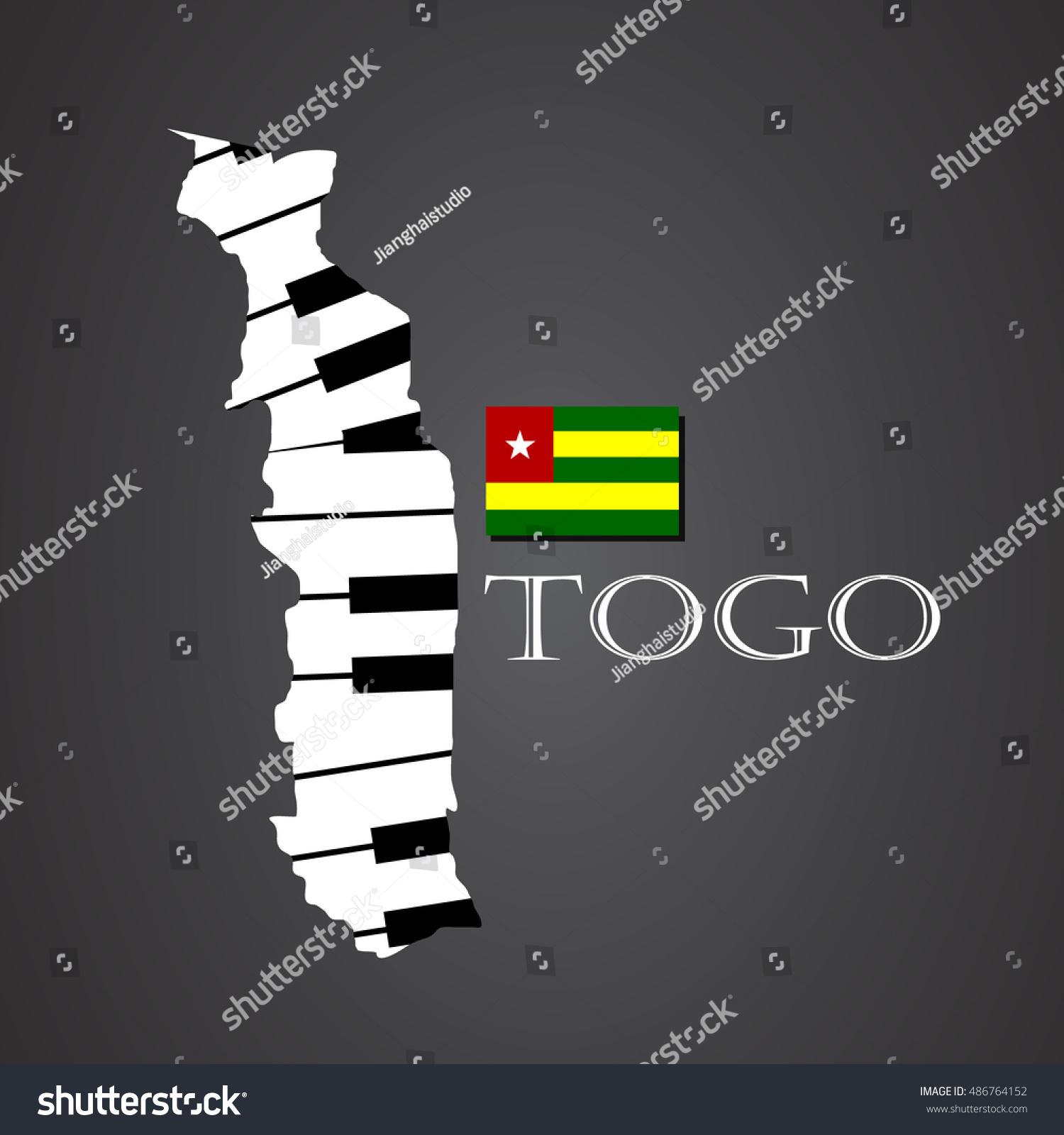 Togo Map Logo Made Piano Stock Vector 486764152 Shutterstock