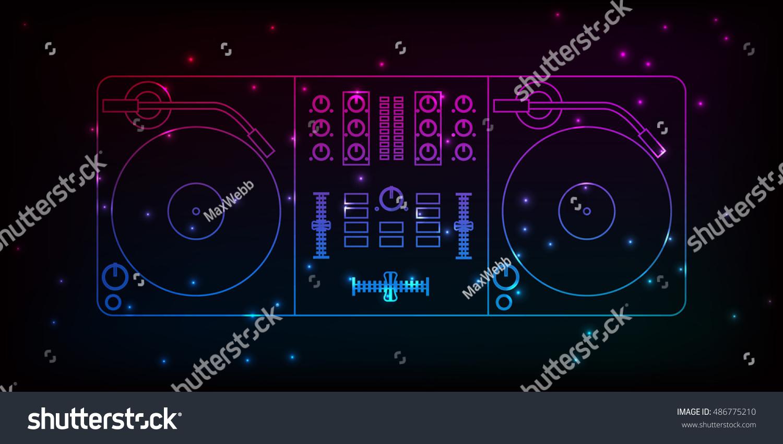 dj mixer neon design particles your stock vector 486775210 shutterstock. Black Bedroom Furniture Sets. Home Design Ideas