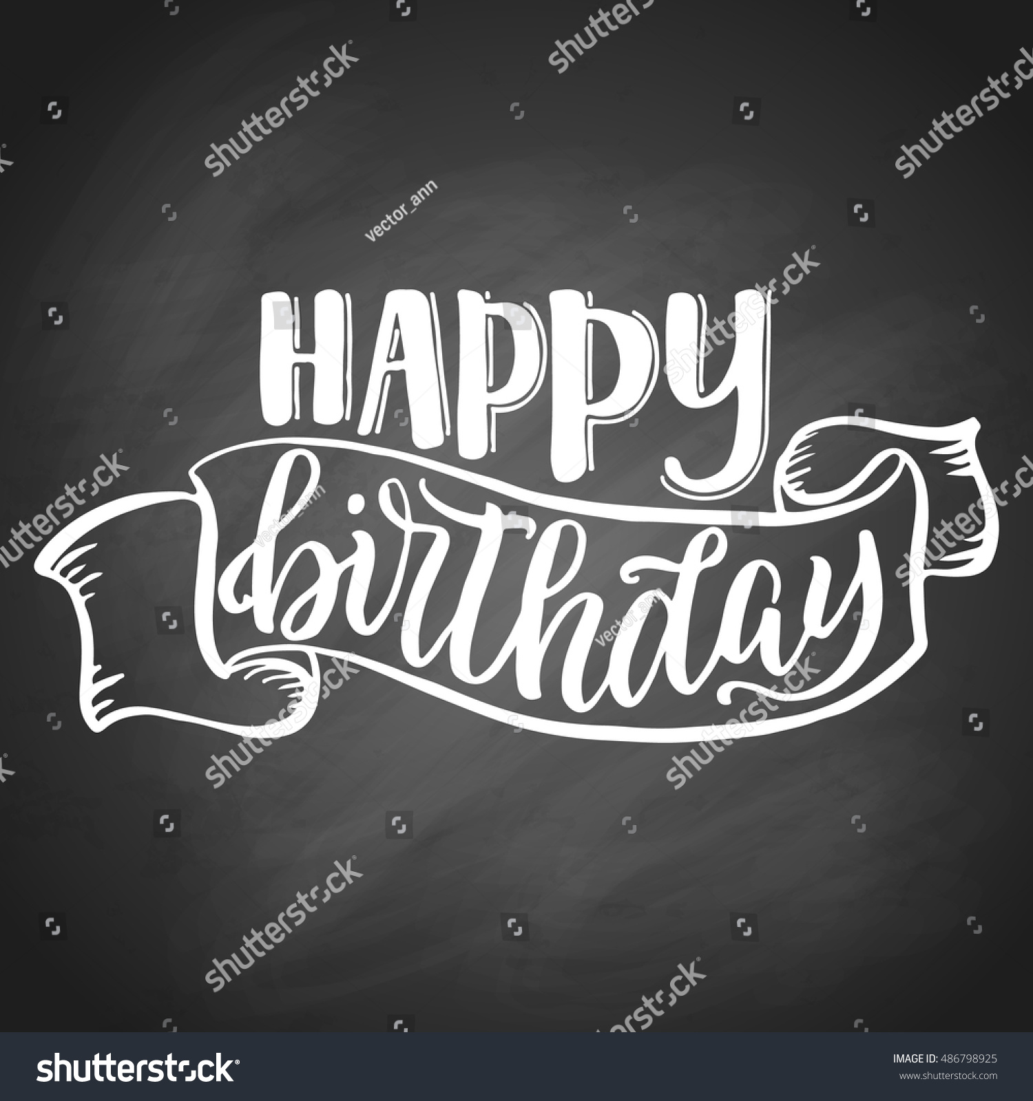 Happy Birthday Hand Lettering With Sketch Ribbon On Black Chalkboard Background Vector Illustration