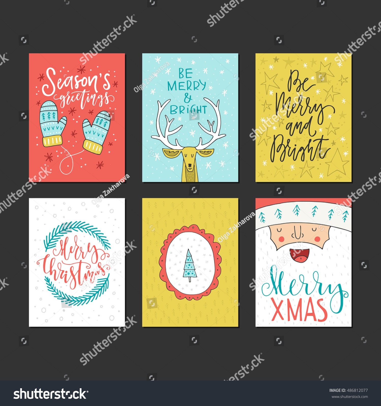 Big Collection Handdrawn Christmas New Year Stock Vector (Royalty ...