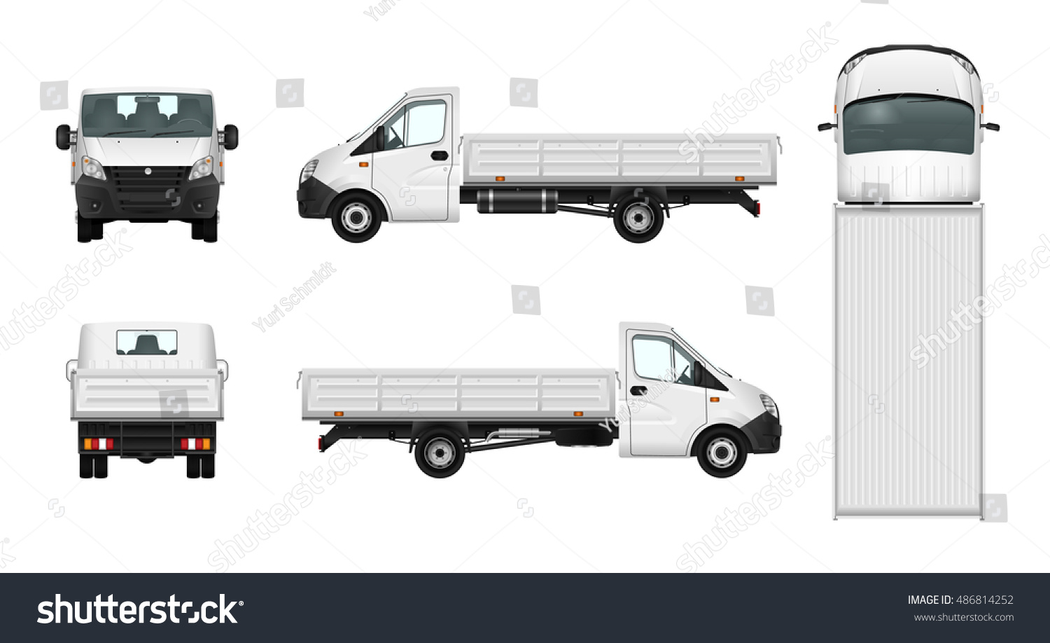 pickup truck vector template on white vectores en stock 486814252 shutterstock. Black Bedroom Furniture Sets. Home Design Ideas