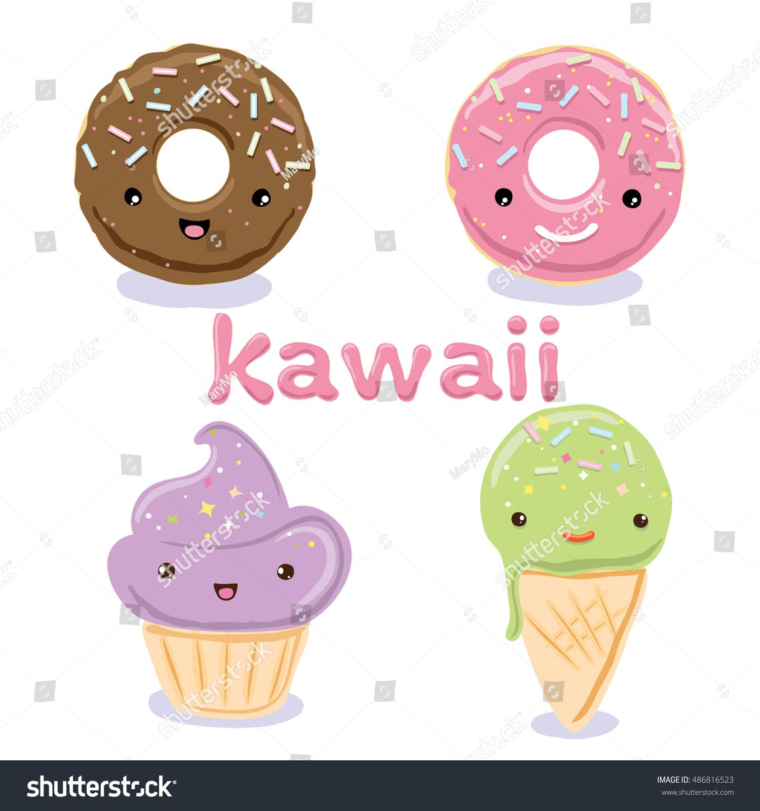 Uncategorized Cute Kawaii Food cute kawaii food characters cupcake icecream stock vector ice cream cone donuts lovely doodle