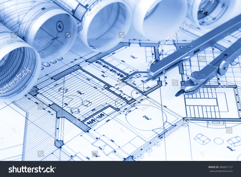 Rolls architecture blueprints house plans imagen de archivo stock rolls of architecture blueprints house plans malvernweather Images