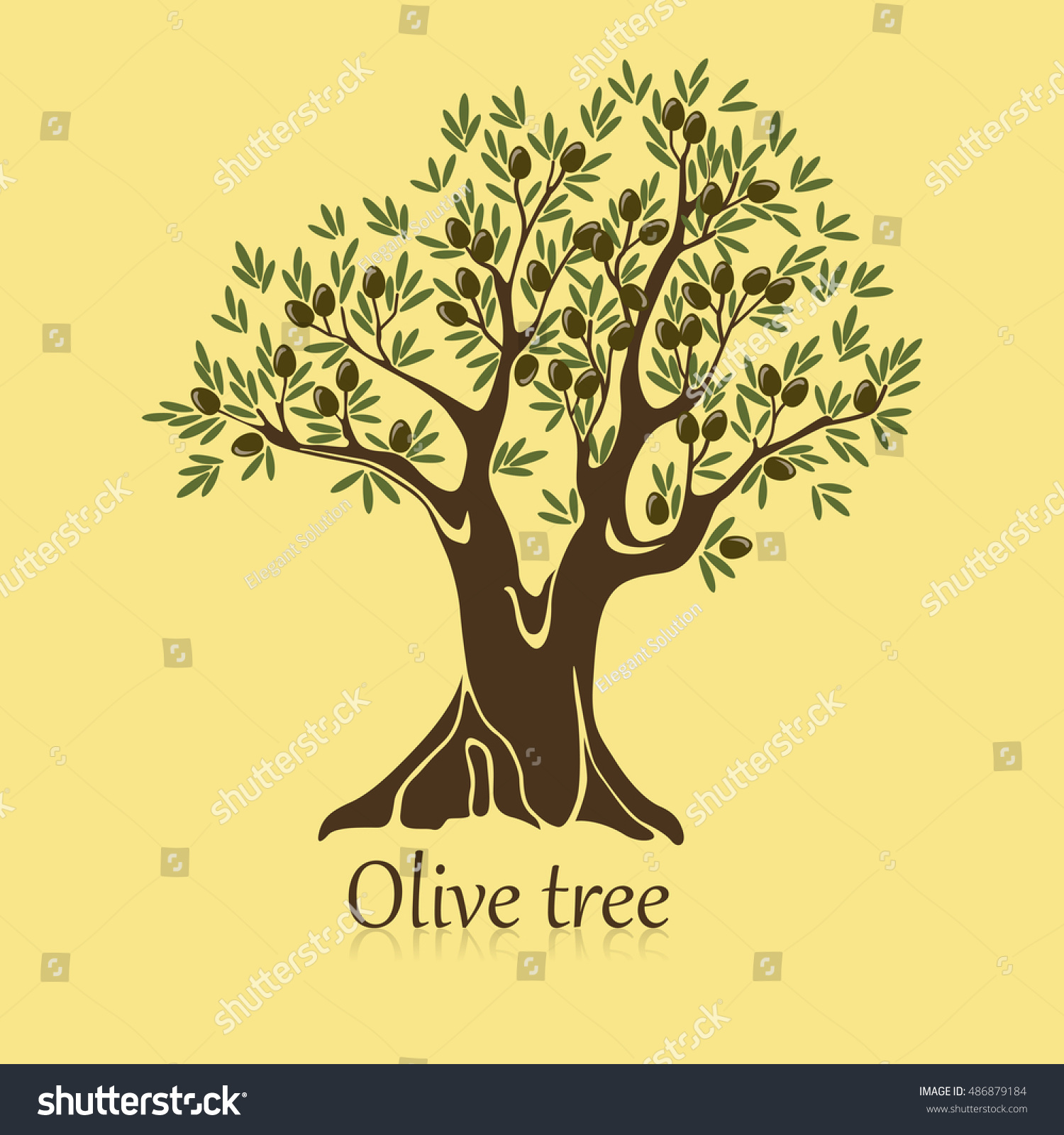 Ripe berries on branches olive tree stock vector 486879184 ripe berries on branches of olive tree banner agriculture sticker or label for bottle or buycottarizona Choice Image