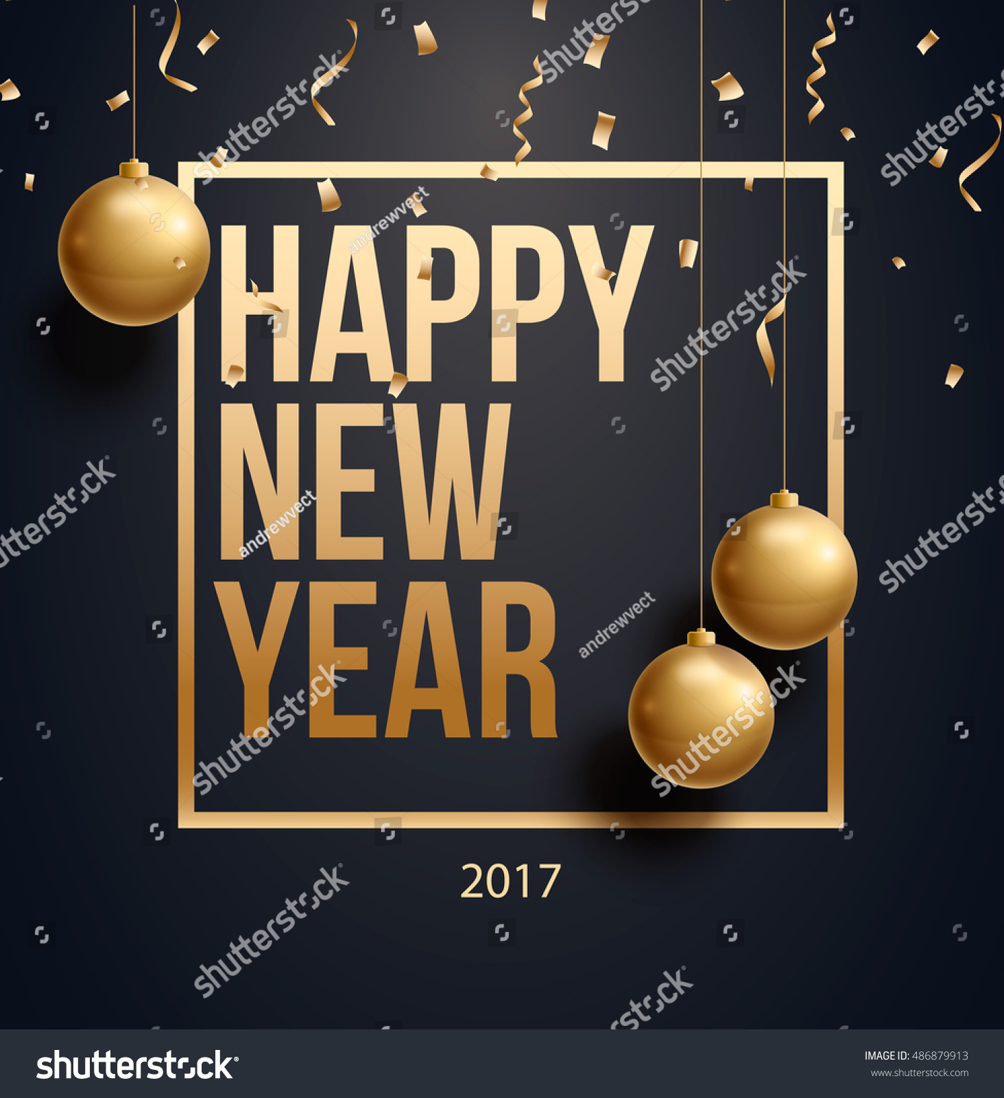 vector illustration of happy new year 2018 gold and black collors place for text christmas balls 2017