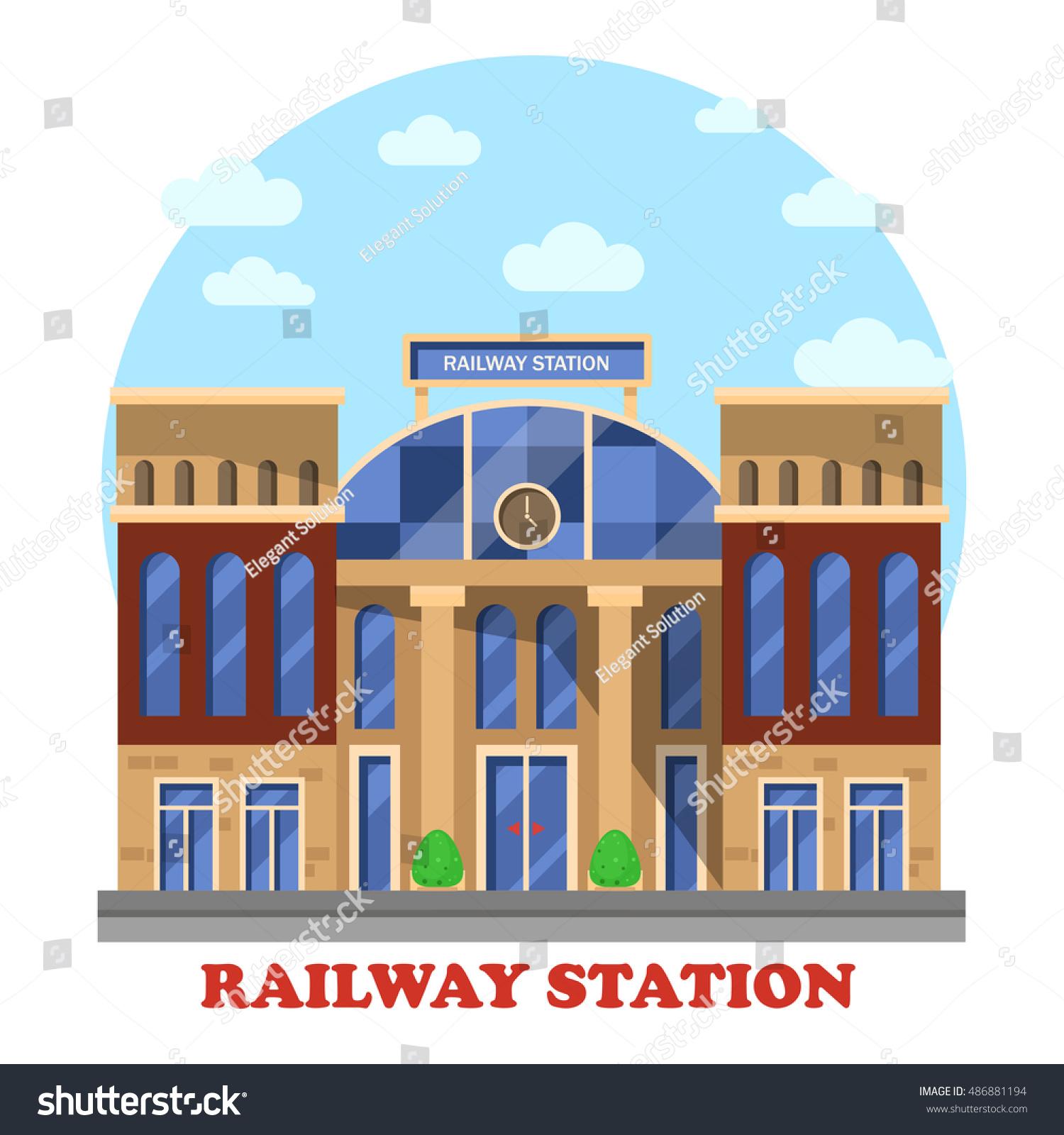Train Railway Railroad Station Depot Clocks Stock Vector 486881194 Shutterstock