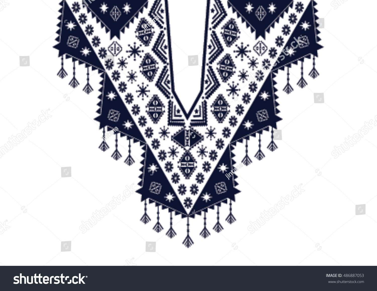 Geometric ethnic pattern neck embroidery design stock