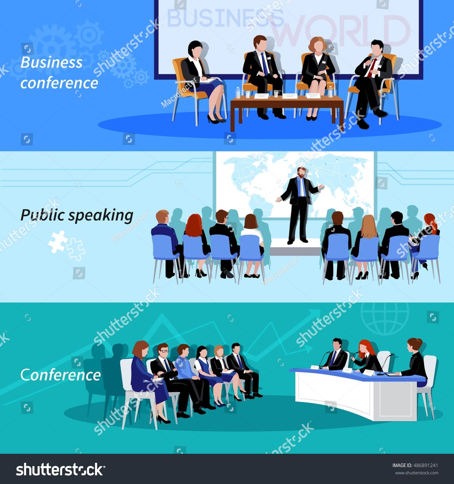 business conference public speaking 3 flat stock vector 486891241