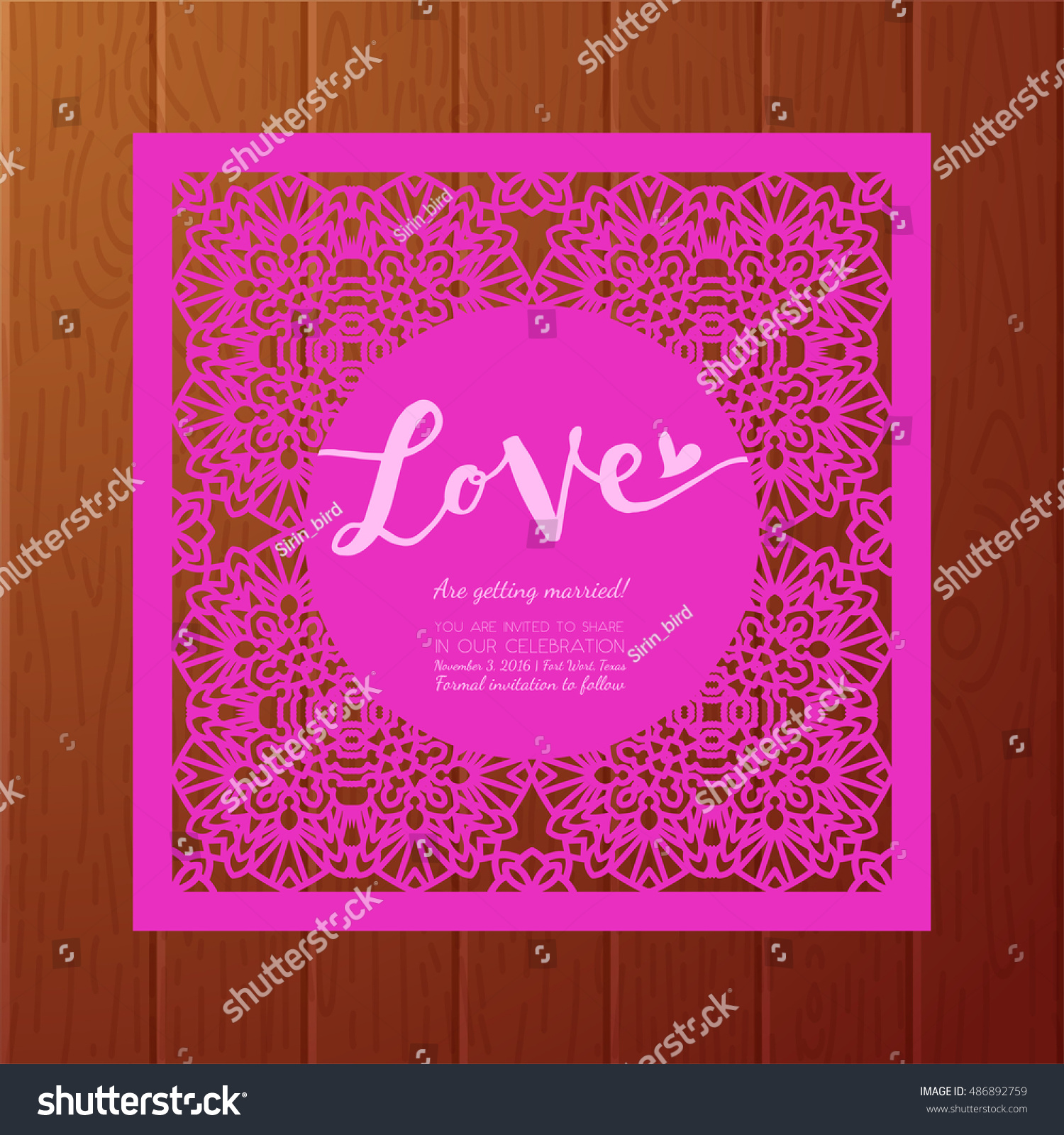 Save Date Cards Template Laser Cutting Stock Vector
