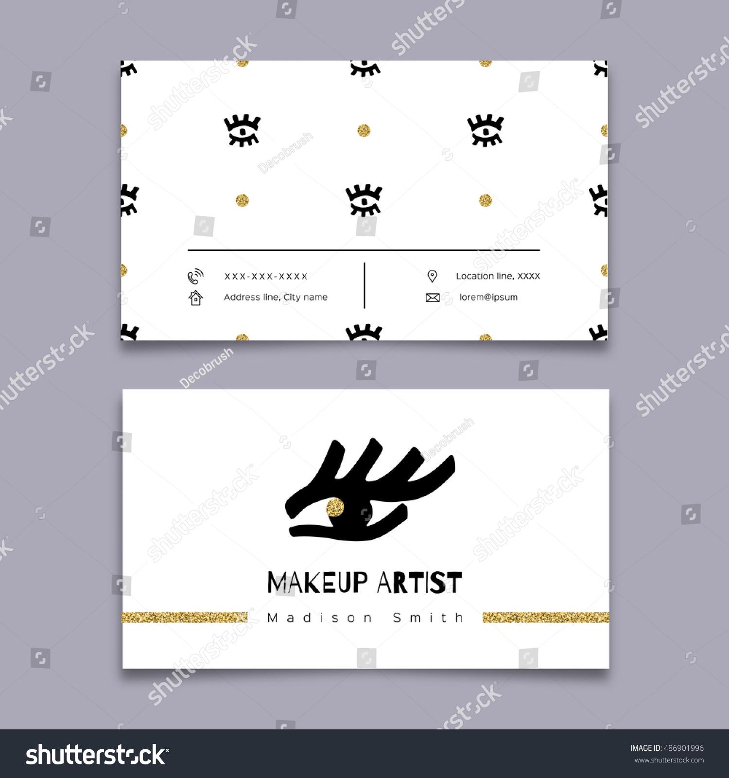Makeup Artist Business Card Modern Hipster Stock Vector