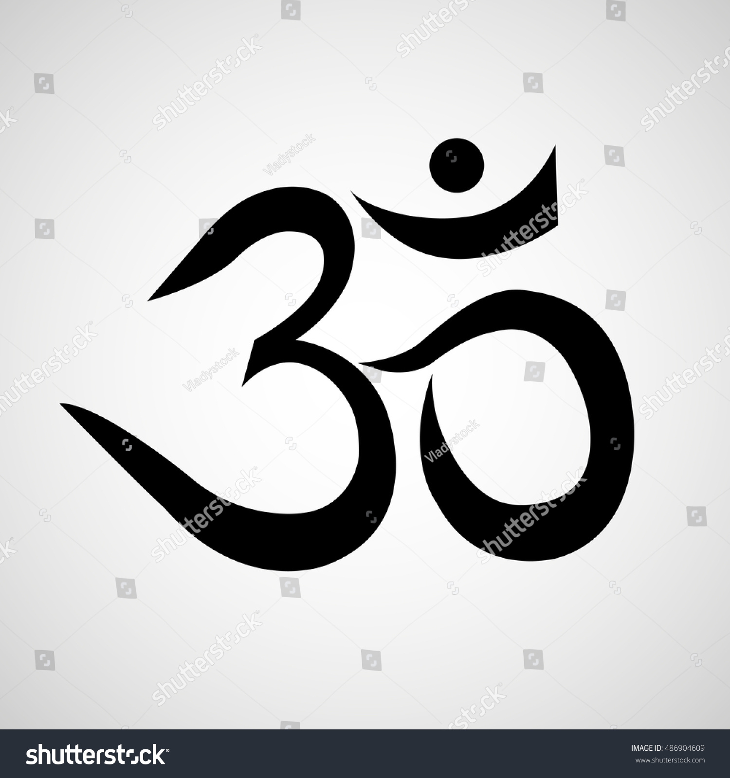 Om Aum Sign Isolated On White Stock Vector Royalty Free 486904609