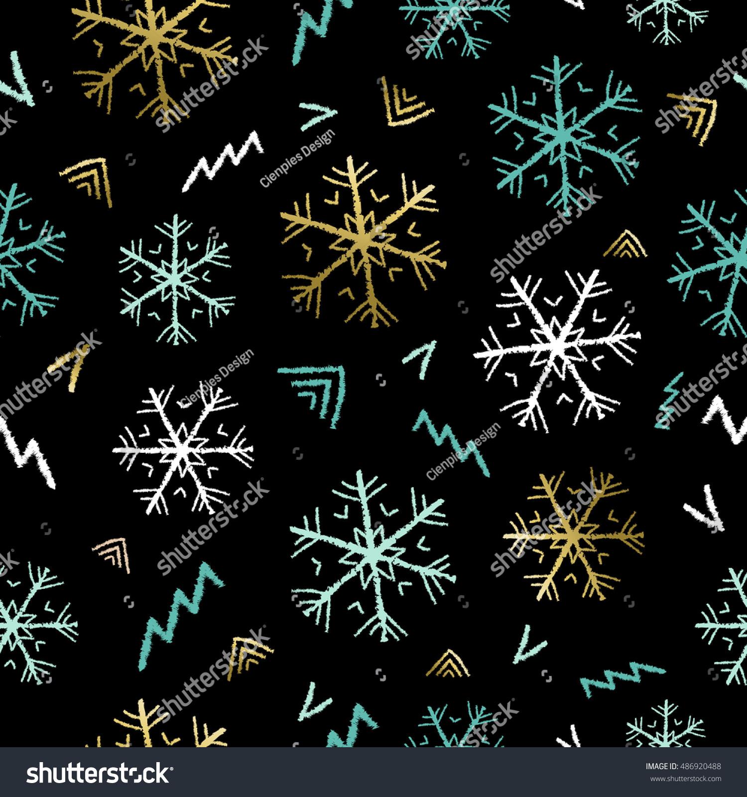 Seamless pattern hand drawn snowflake doodles stock