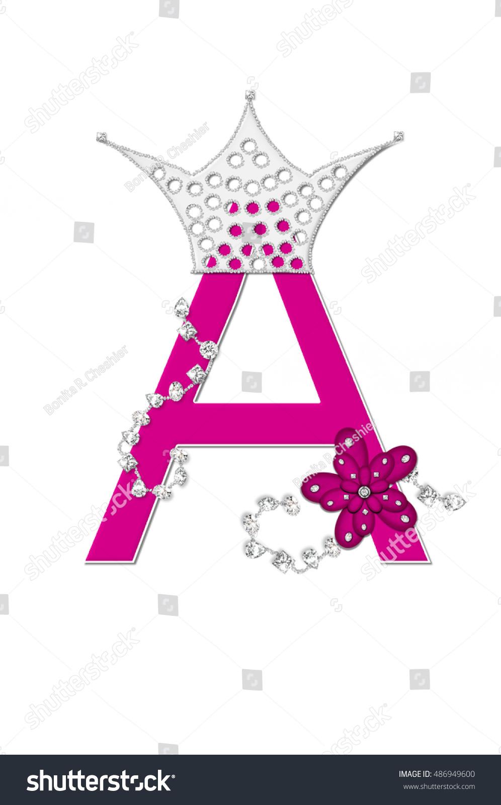 Letter A Alphabet Set Pageant Queen Stock Illustration