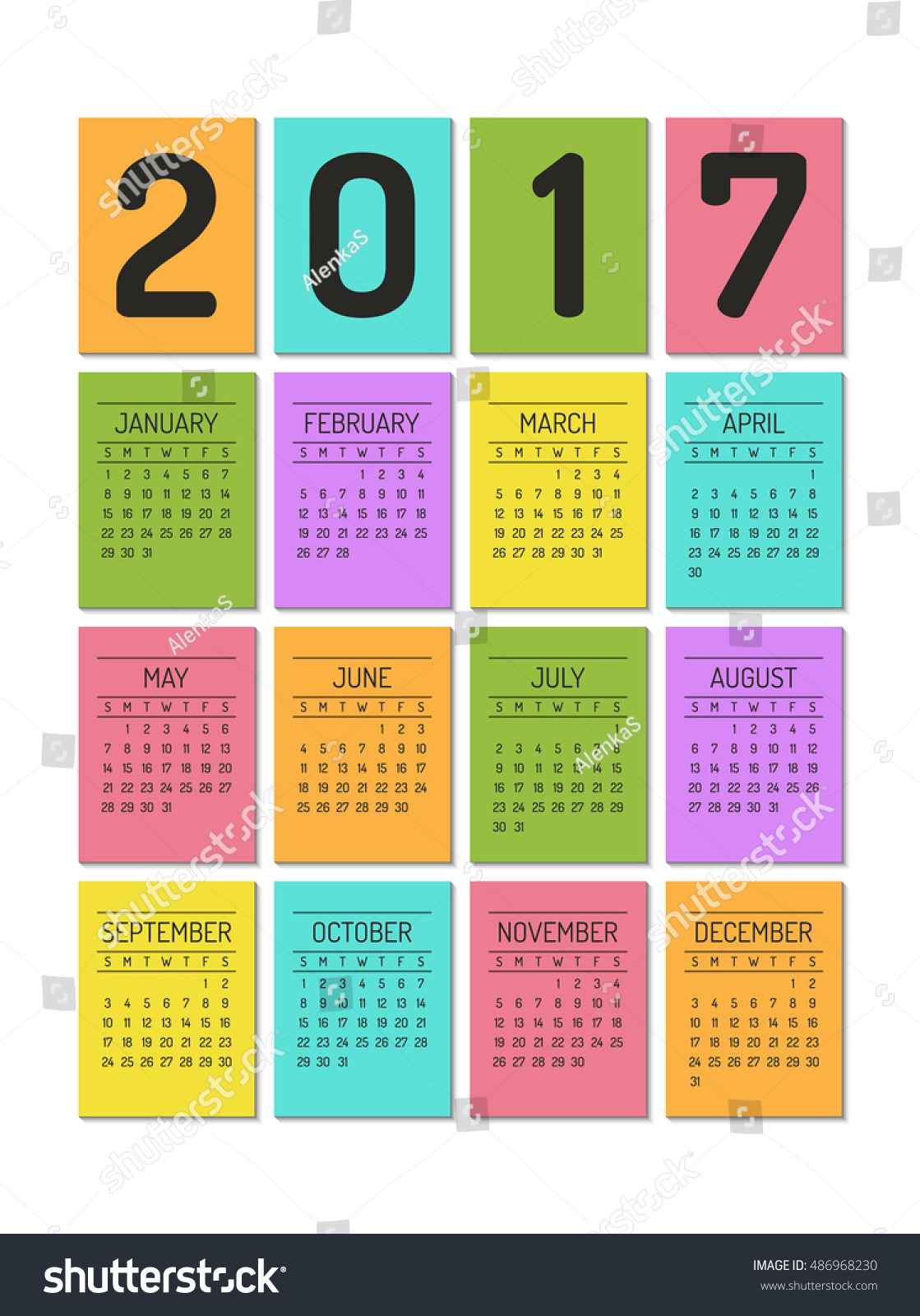 color block calendar template for 2017 year week starts on sunday 486968230
