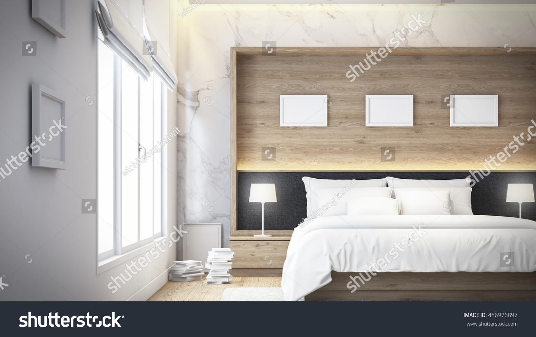 Modern Bedroom Wall Modern Bedroom Bedroom On Sea View Stock Illustration 486976897