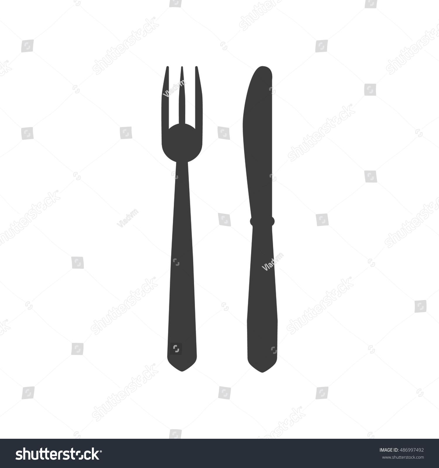 Knife Fork Icon Knife Fork Symbol Stock Illustration 486997492